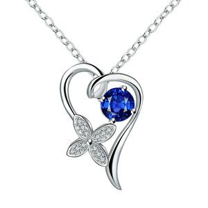 Jewelry - Silver Plated Heart Charm Blue Chain
